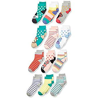 Brand - Spotted Zebra Kids' 12-Pack Ankle Socks, Safari Animals, Small...