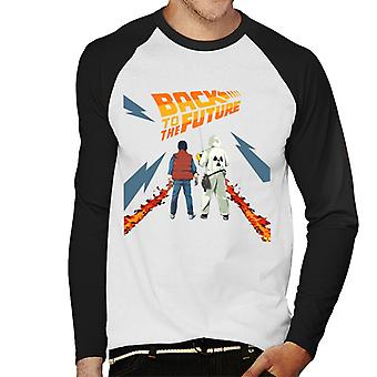 Back to the Future Delorean Fire Trail Marty And Doc Men's Baseball Long Sleeved T-Shirt