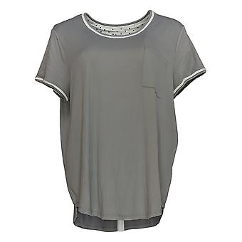 Cuddl Duds Women's Top Cool & Airy Jersey Color- Block Gray A346857