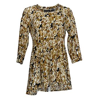 Attitudes door Renee Women's Top Jersey Printed Godet Tunische Beige A378521