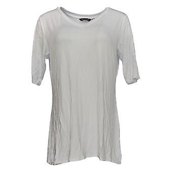H Di Halston Women's Top V-Neck Tunic W/ Side Slits White A353391