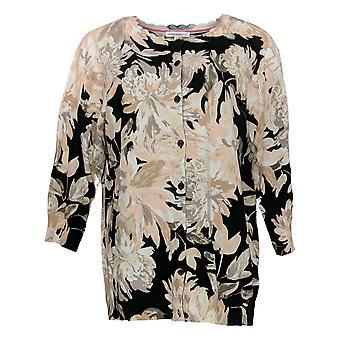 Isaac Mizrahi Live! Women's Plus Sweater Floral Cardigan Beige A352723