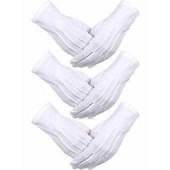 Sumind 3 pairs nylon cotton gloves parade costume gloves for police formal tuxedo honor guard and sp