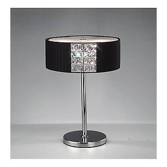 Evelyn Round Table Lampe mit schwarzem Lampenschirm 2 poliert Chrom / Kristall Glühbirnen