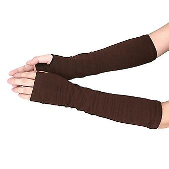Long Sleeve Fingerless Gloves Striped Winter Autumn Elbow Mittens Stretchy
