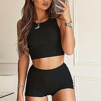 Women Two Piece Set Crop Top Tanks Biker Shorts