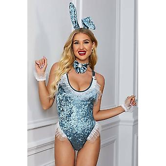Blue Velvet Lace Backless Bunny Costume