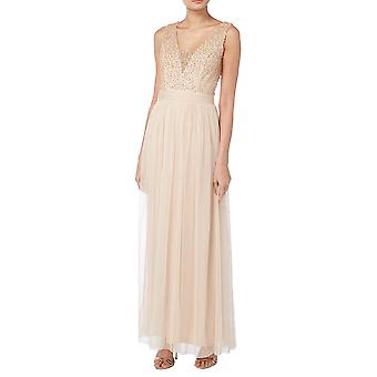 Blush pearl beaded bodice gown