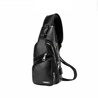 Skórzany proca Pack Klatka piersiowa Crossbody Bag Biker Satchel Mężczyźni Teczki