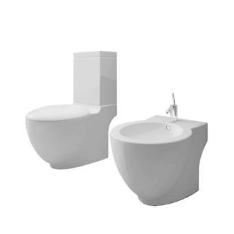 Ceramic Toilet & Bidet Set White