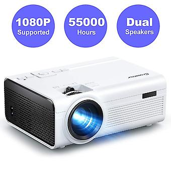 Crosstour projector, mini portable video home projector support full hd 55000 hours led lamp life ho