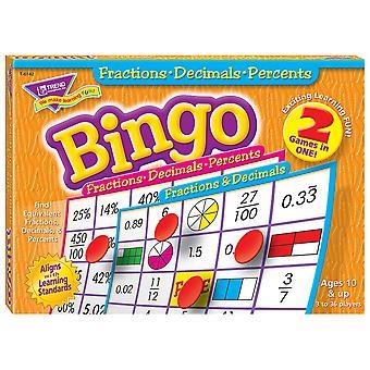 Gioco di bingo frazioni, decimali e percentuali