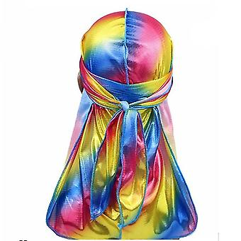 Men Sparkly Colorful Durags Turban Bandanas Headwear Silky Inside Wave Caps