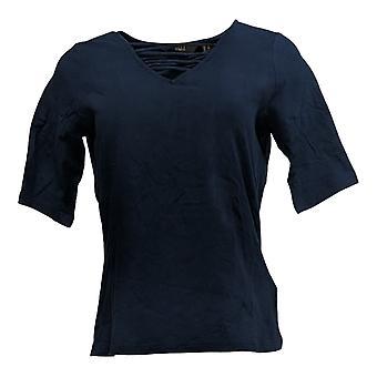 G.I.L.I. Got It Love It Women''s Top Cut-Out Elbow Sleeve Knit Blue A375516