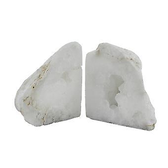 Natürliche weiße Geode poliert Quarzkristall Buchstützen 4 bis 7 Pfund