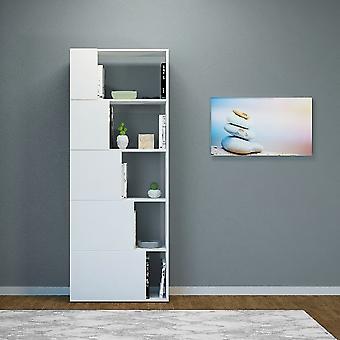 Libreria Skipper Colore Bianco in Truciolare Melaminico, L65xP22xA166 cm