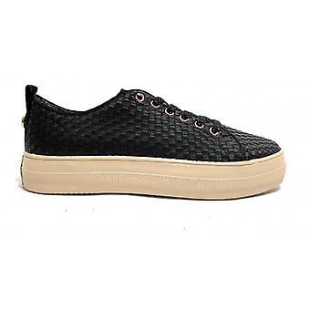 Sneaker Vrouw Us Polo Mod. Koningin geweven in geweven faux lederen zwarte kleur Ds19up03