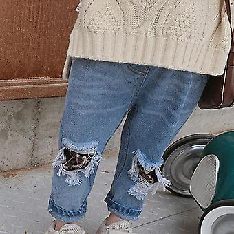 Frühling Herbst Kinder Leopard Jeans Ripped Hole Hose Gebrochene Denim Hose