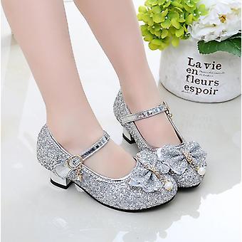 Kids Leather Shoes Wedding Dress Elsa Princess Bowtie Dance For Flat Sandals