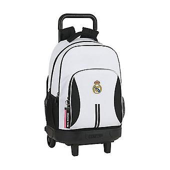 Mochila escolar con ruedas Compacta Real Madrid C.F. 20/21 Blanco Negro