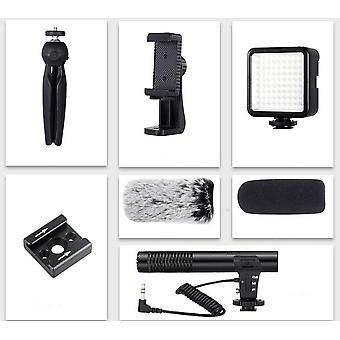 Kits de vlogging de smartphones com microfone, tripé e iluminação