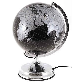 Globe med belysning H38cm Globe lampe sort sølv lampe