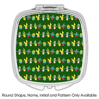 Gift Compact Mirror: Cactus Vases Pattern