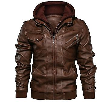 Autumn, Winter, Casual Hooded, Leather Jackets
