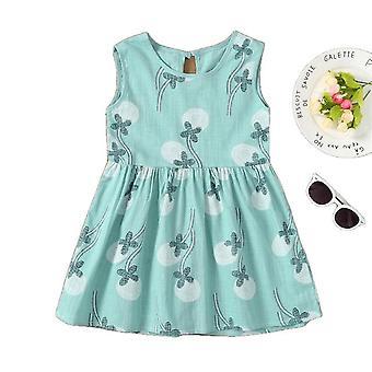 Bedrukte bloem mouwloos 1-7 jaar kinderen jurken voor meisjes