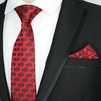 Dark & light red geo stripe designer tie & pocket square