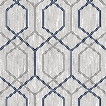 Oria Hex Navy Grey Wallpaper