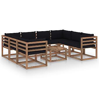 vidaXL 9 pcs. Garden Lounge Set with Black Pillows