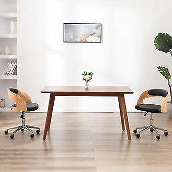 vidaXL svängbar kontorsstol svart böjd trä och konstläder