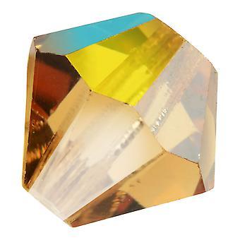 Preciosa Cristal tchèque, Perle Bicone 6mm, 24 Pièces, Lumière Colorado Topaz AB