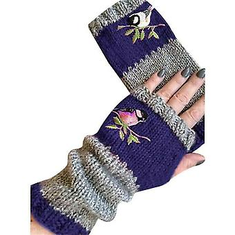 - Jag är inte så bra på det här. Kvinnor Damer Fåglar Broderi Handskar Stickade Fingerlösa Mjuka Vinter Varma Vantar