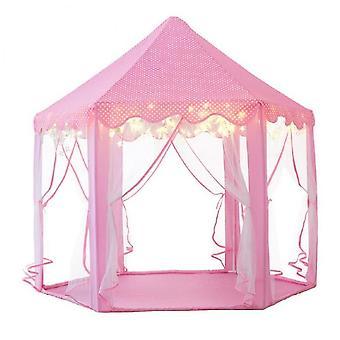Lasten teltta Kuusikulmio Prinsessa Teltta Lasten leikkitalo sisätiloissa (vaaleanpunainen)