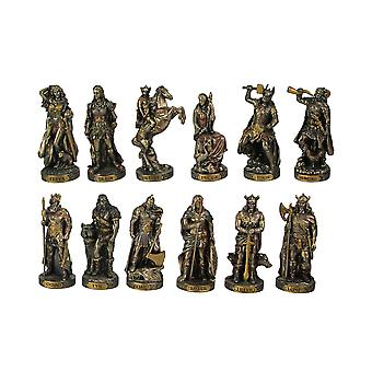 Bronze Finished 12 Piece Norse Gods and Goddesses Miniature Statue Set