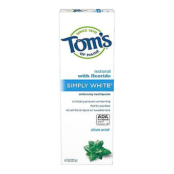 Tom's of maine simply white natural toothpaste, clean mint, 4.7 oz