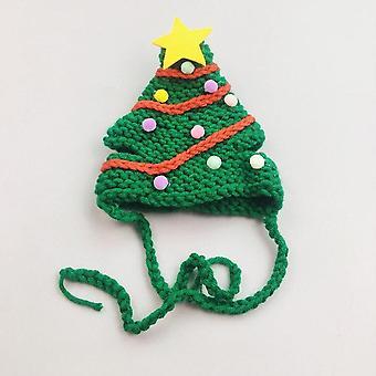 קישוט חג המולד כובע חתול בעבודת יד בצורת עץ חג המולד בגדים לחיות מחמד כובע חמוד כלב כיסוי ראש