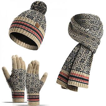 3 Pieces Winter Hat Scarf Gloves Set And Touchscreen Gloves