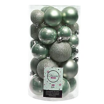 30 gemischte Größe Salbei grün shatterproof Weihnachtsbaum Bauble Dekorationen