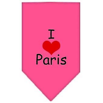 Dog apparel 66-36 lgbpk i heart paris screen print bandana bright pink large