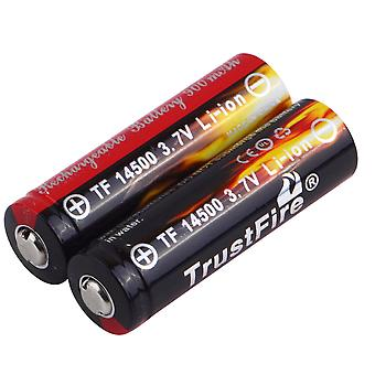 2pcs Aa 14500 900mah 3.7v Li-ion oppladbart ledet batteri