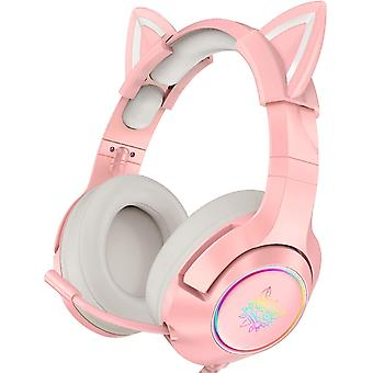 Pink Gaming Headset With Removable Cat Ears