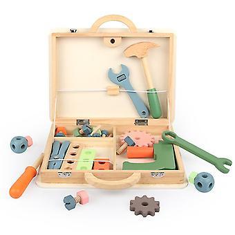 Puinen työkalupakki teeskennellä pelata lelu rooli leikkisetti pähkinäruuvi käsintehty lasten lahjat
