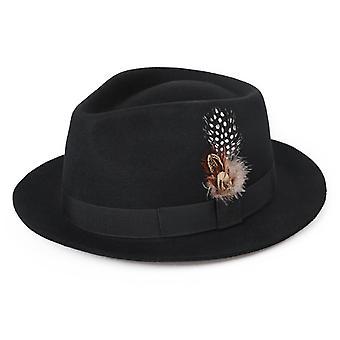 Chapéu de lã europeu e americano outono e inverno britânico top cartola britânico top hat feminino quente chapéu de jazz quente