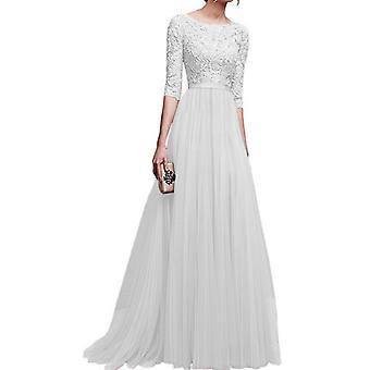 Vestido de noche Gasa Vestido de noche Falda larga Banquete Disfraz Blanco