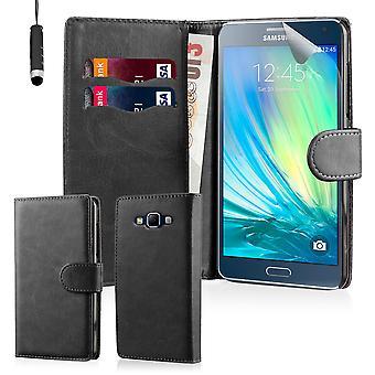 32 ° libro portafoglio custodia + stilo per Samsung Galaxy A3 (2016) SM-A310 - nero