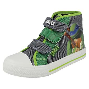 Boys Nickelodeon Turtles Leonardo Hamilton Hi Top Canvas Boots