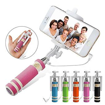 (Pink) HTC Desire 10 Lifestyle Mini Selfie Stick Mobile Phone Monopod Built-in Remote Shutter + Adjustable Smartphone Adapter
